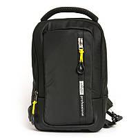 Рюкзак мужской 1037-2 black черный текстильный на одно плечо банан слинг