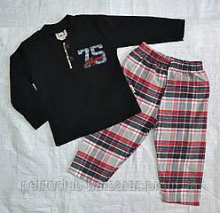 Дитяча піжама для хлопчика 75 чорна/клітина р. 68-80 см (OZTAS, Туреччина)