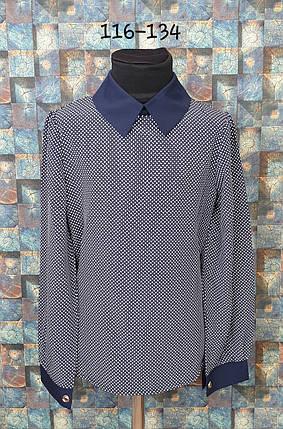 Блузка с длинным рукавом  116-134 темно-синий, фото 2