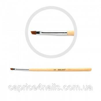 Пензель для гелю, штучний ворс, скошена з дерев'яною ручкою, №2 Mileo Professional