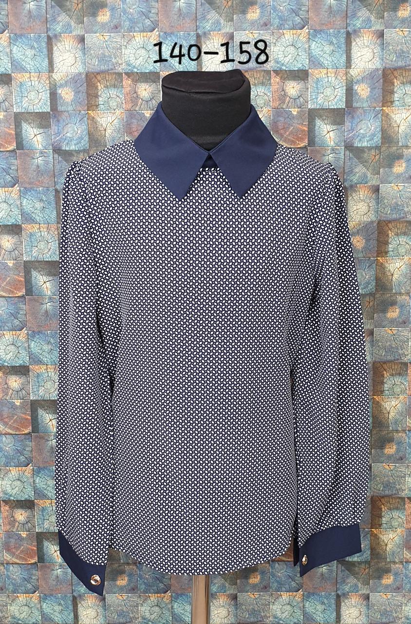 Блузка с длинным рукавом 140-158 темно-синий