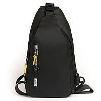 Сумка рюкзак 1038 black черный текстильный на одно плечо банан слинг