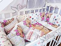 """Комплект постельного в детскую кроватку для новорожденных """"Panel Шарик девочка"""""""