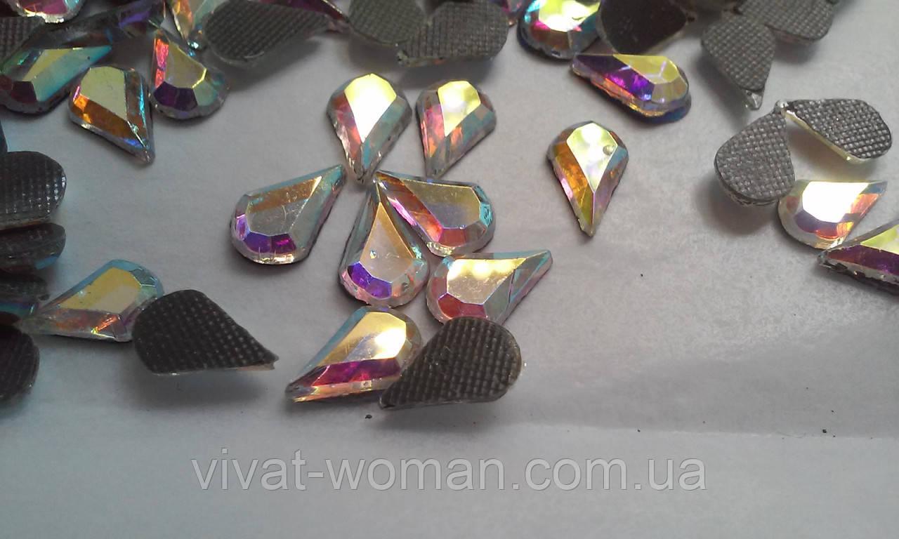 Стрази термоклеєві, Крапля 5 х 8 мм, Crystal AB (хамелеон)