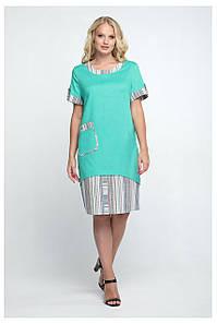 Летнее льняное женское платье в полоску, 52-60