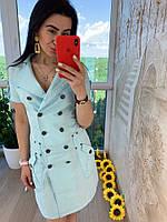 Женское летнее нежное платье в стиле сафари