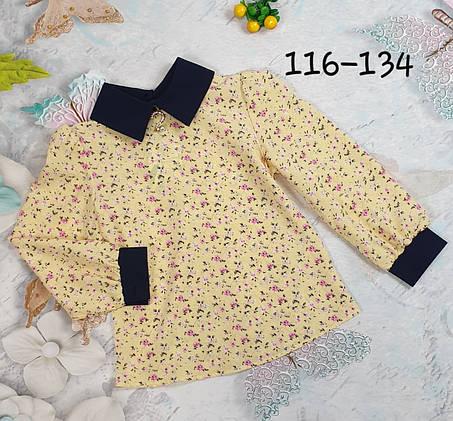 Блузка с длинным рукавом  116-134 на желтом мелкие цветы, фото 2