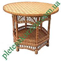 Стол из лозы полкой (круглый) выс 75см диаметр 90см Арт.697
