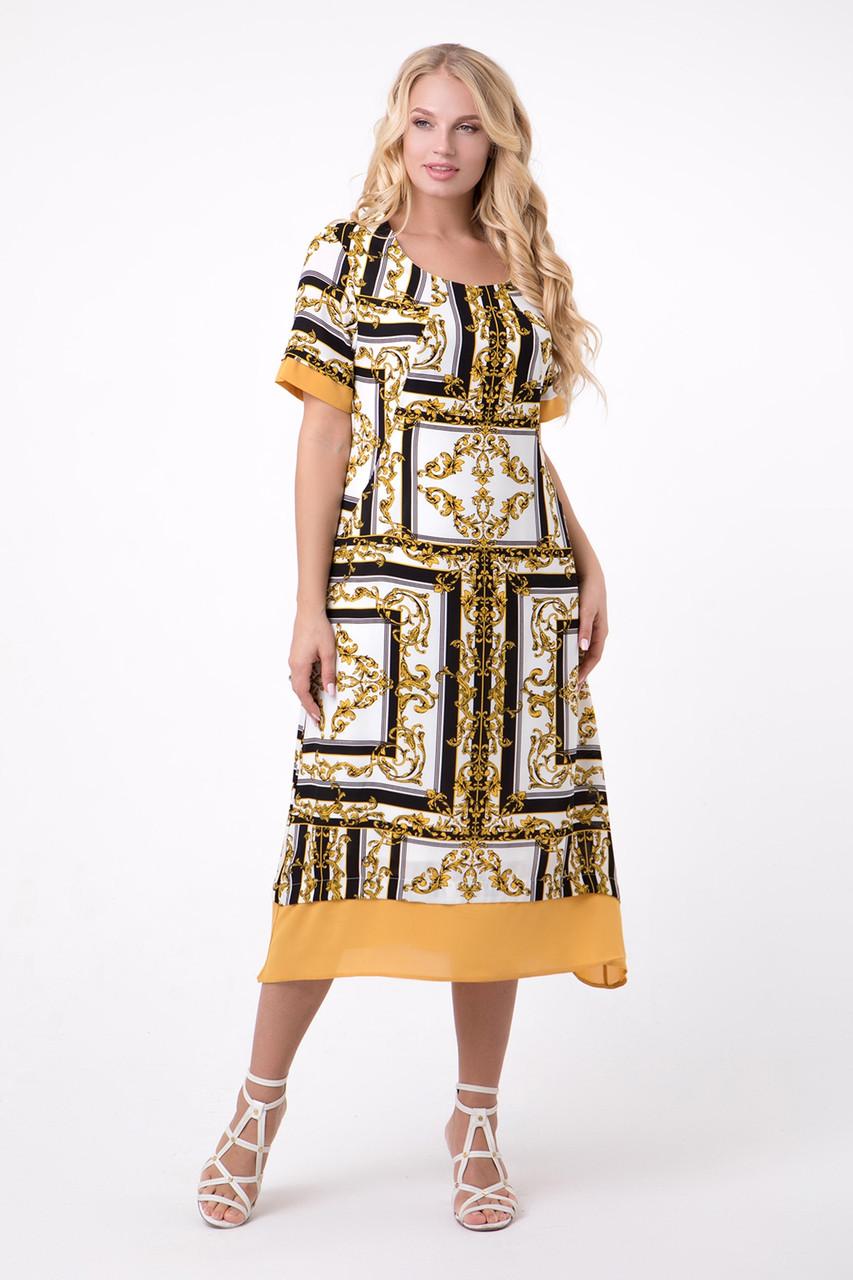 Длинное летнее женское платье свободного кроя, 52-60