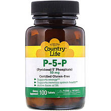 "Вітамін П-5-Ф Country Life ""P-5-P (Pyridoxal 5' Phosphate)"" піридоксаль 5-фосфат, 50 мг (100 таблеток)"