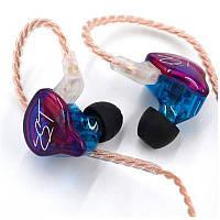 Гібридні дротові навушники KZ ZST Mic двухдрайверные з мікрофоном Original Multicolor