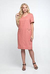 Летнее женское льняное платье прямого силуэта, 50-56