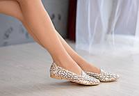 Перфорированные кожаные балетки леопардовый принт