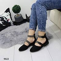Балетки женские туфли черные с ремешками