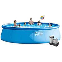 Надувной бассейн Intex 26176 с кантриджным наносом, лестницей, тентом и подстилкой под бассейн