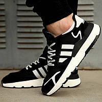 Кроссовки Adidas Nite Jogger Найт Джогер Чёрно белые. ТОП модель 2020.