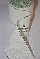 Канва лента для вышивки Vaupel & Heilenbeck (Германия), ширина 6 см (белая с зелёным кантом)