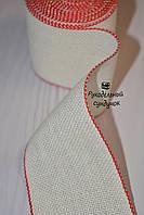 Канва лента для вышивки Vaupel & Heilenbeck (Германия), ширина 6 см (белая с красным кантом)