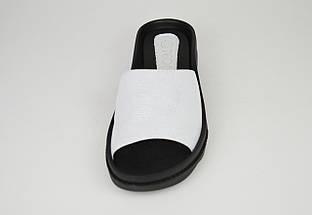 Шлепанцы кожасатен белые Teona 120, фото 3