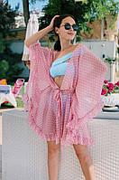 Пляжная туника в горошек 42-48 -  голубая, розовая