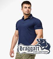 Мужская поло рубашка Braggart с кортким рукавом темно-синяя хлопковая