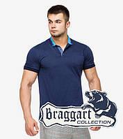 Модная темно-синяя мужская рубашка поло Braggart с коротким рукавом
