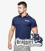 Модная молодежная рубашка поло летняя Braggart темно-синяя