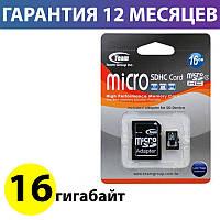 Карта памяти micro SD 16 Гб класс 4 Team, SD адаптер (TUSDH16GCL403), память для телефона микро сд