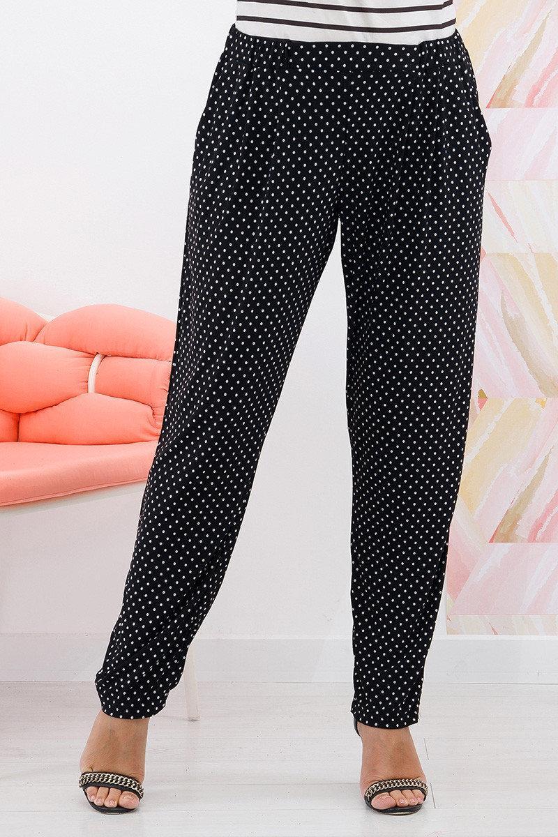 Трикотажные женские брюки черные в горошек большого размера с 54 по 64