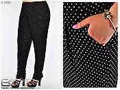 Трикотажные женские брюки черные в горошек большого размера с 54 по 64 , фото 3