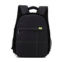 Фоторюкзак с карманом универсальный противоударный, черный цвет, подкладка зеленая ( код: IBF032BG )