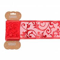 Стрічка декоративна 6 см * 2 м, червона, з візерунком, напівпрозора,..YES! Fun