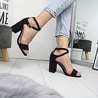 Женские замшевые черные босоножки на каблуке 742411