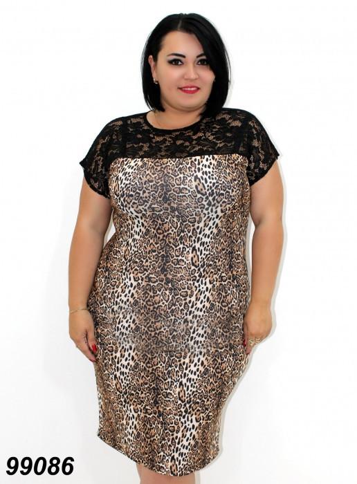 Платье леопардовый принт с гипюром 48,50,52,54,56