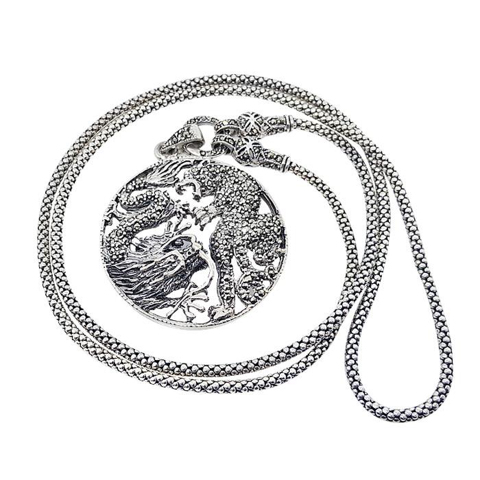 Срібний кулон з марказитами 0108