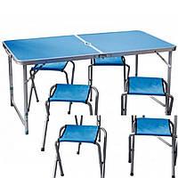Стол складной для пикника + 6 стульев, синий, отверстие для зонта