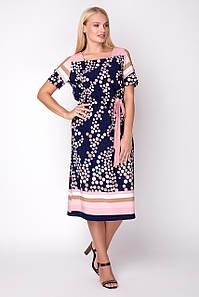 Воздушное платье прямого кроя с оригинальным принтом, 50-56