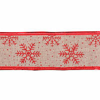 Стрічка декоративна 6 см * 2 м з червоною сніжинкою,.YES! Fun