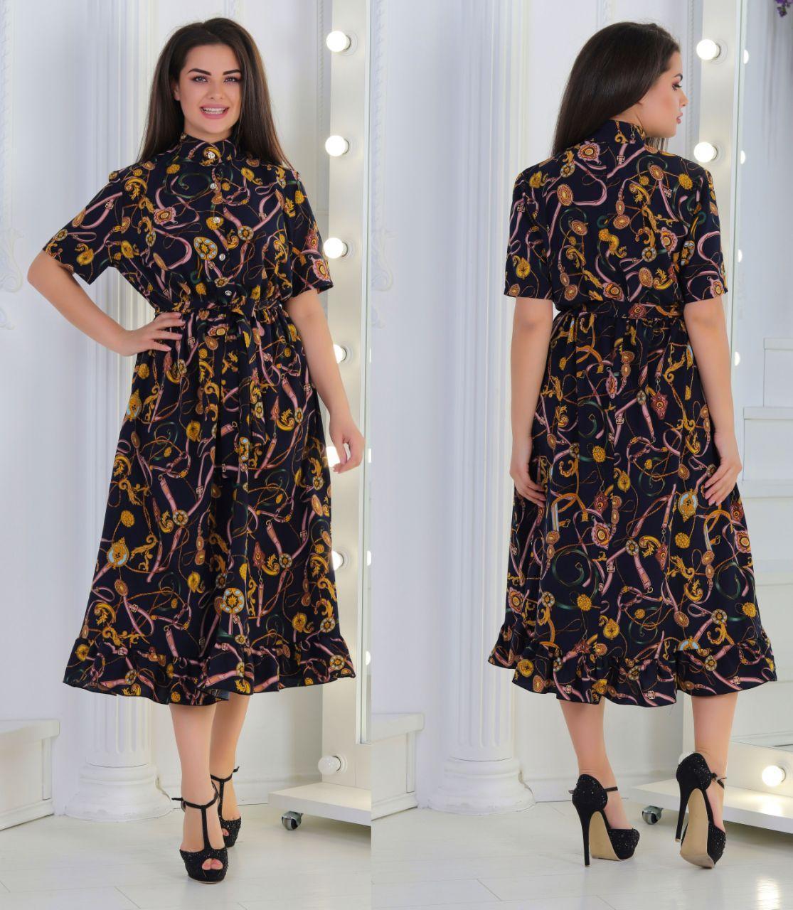 Вільний літній ретро сукню на гудзиках з коміром стійкою і пояском, батал великі розміри