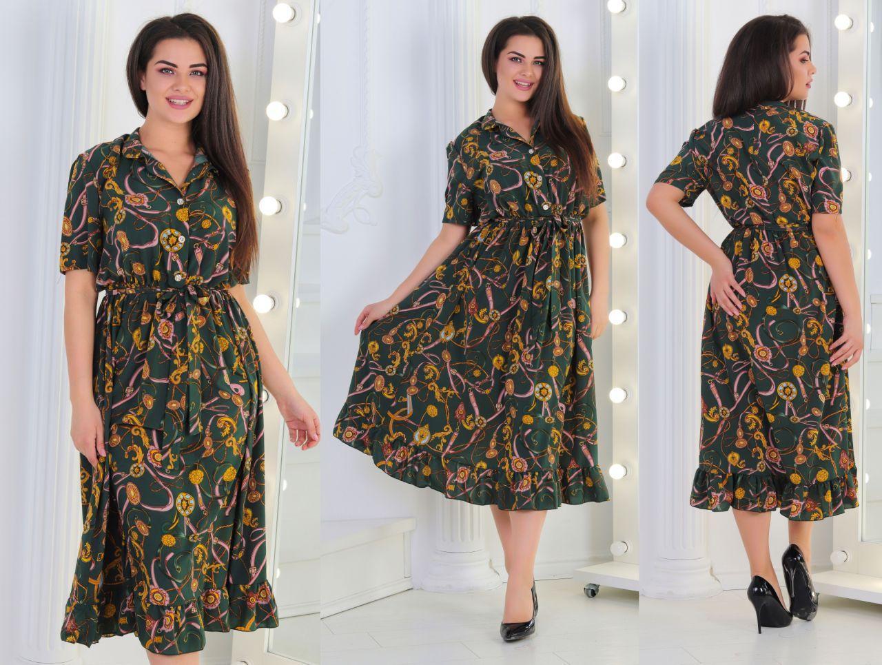 Свободное летнее ретро платье на пуговицах с воротом стойкой и пояском, батал большие размеры