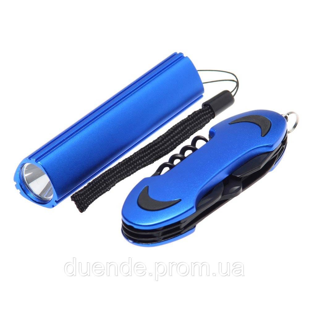 Фонарик LED + нож многофункциональный, цвет Синий - su 90500404