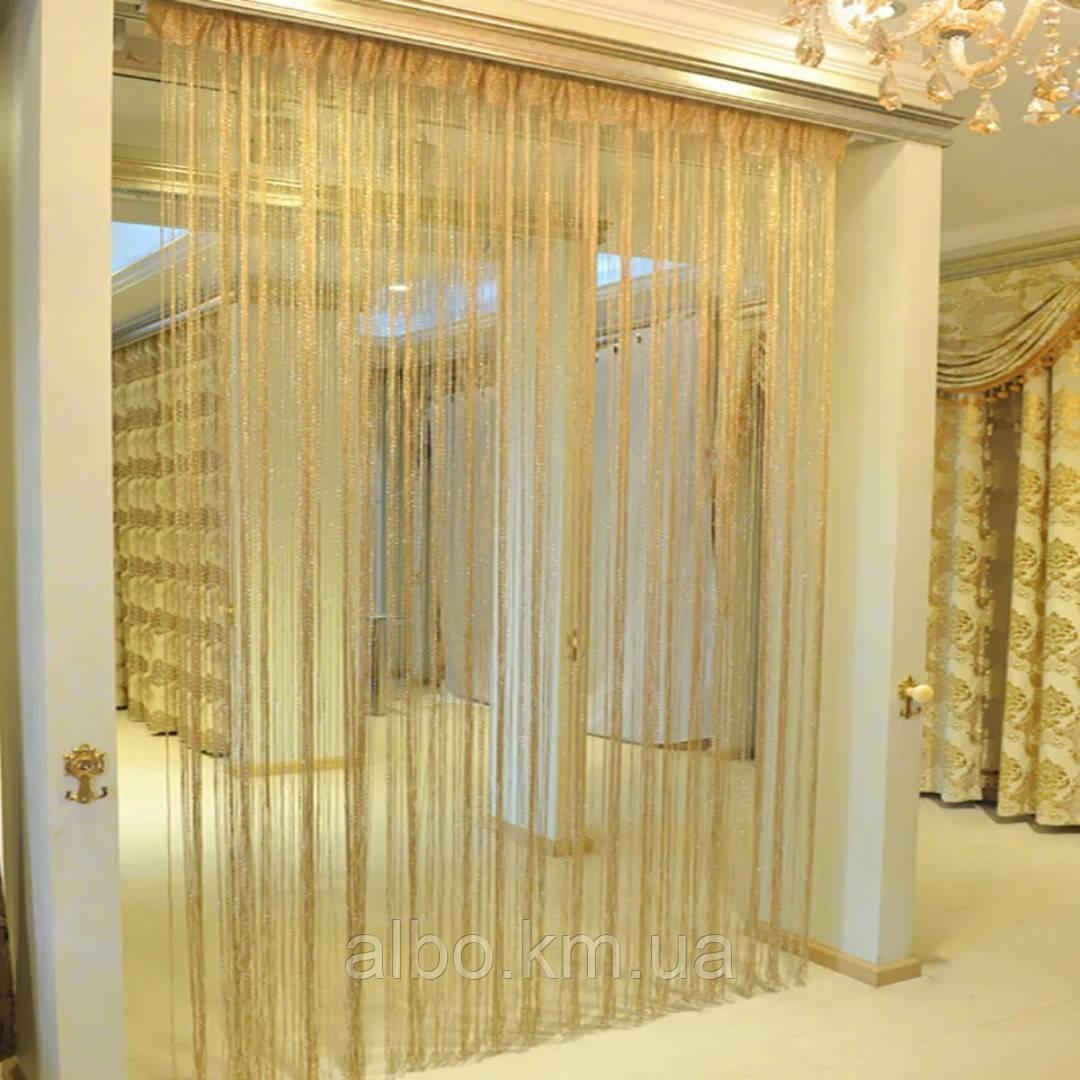 Нитяные шторы Кисея с люрексом 300x280 cm Золотистые (Ki-176)
