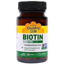 """Биотин Country Life """"Biotin"""" 1 мг (100 таблеток)"""