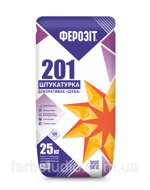 Штукатурка декоративная Шуба ФЕРОЗИТ 201 белая 25 кг зерно - 5 мм