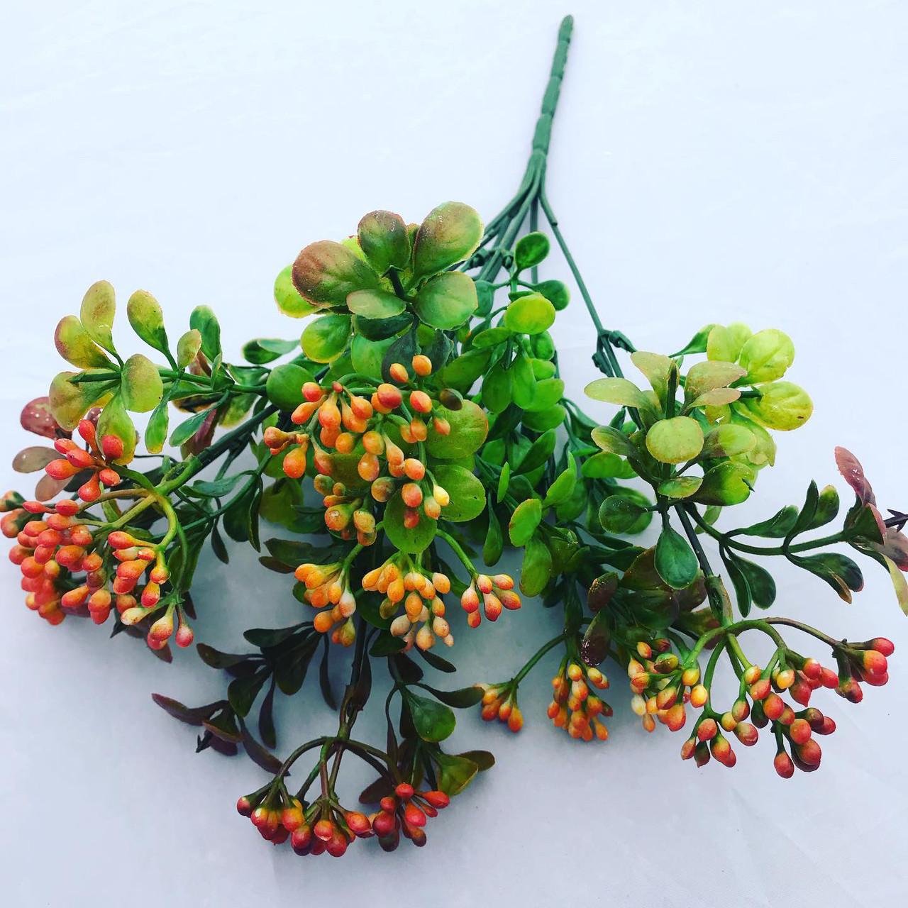 Искусственный ,пластиковый куст с ягодами.Куст дополнитель (оранжевый)
