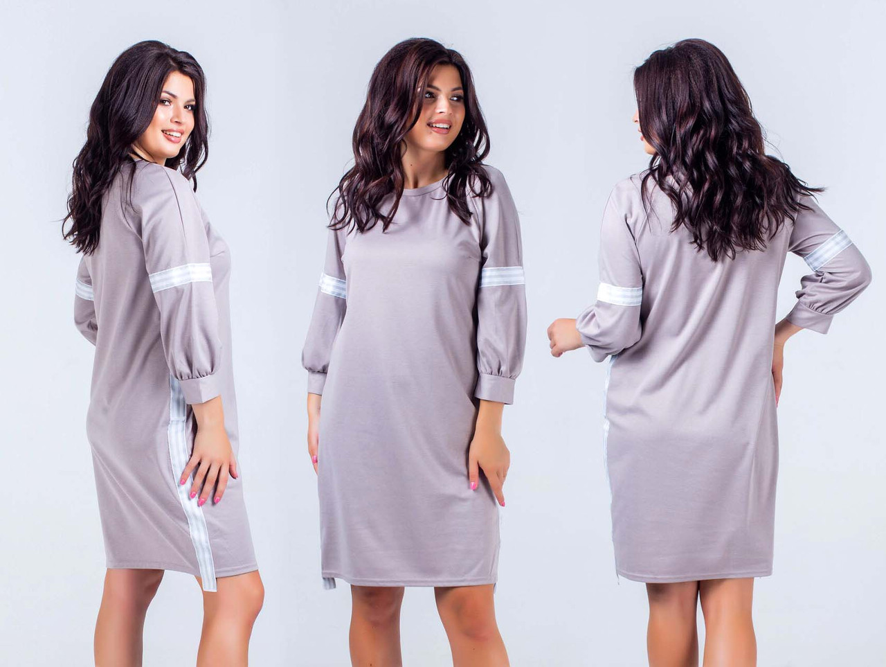"""Женское стильное платье в больших размерах 394 """"Алекс Лампасы Полоска"""" в расцветках"""