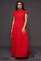 Платье красное в пол на пуговицах большого размера