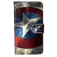 Чехол-книжка с рисунком Color Book для Oukitel U7 Max Щит Капитана Америки