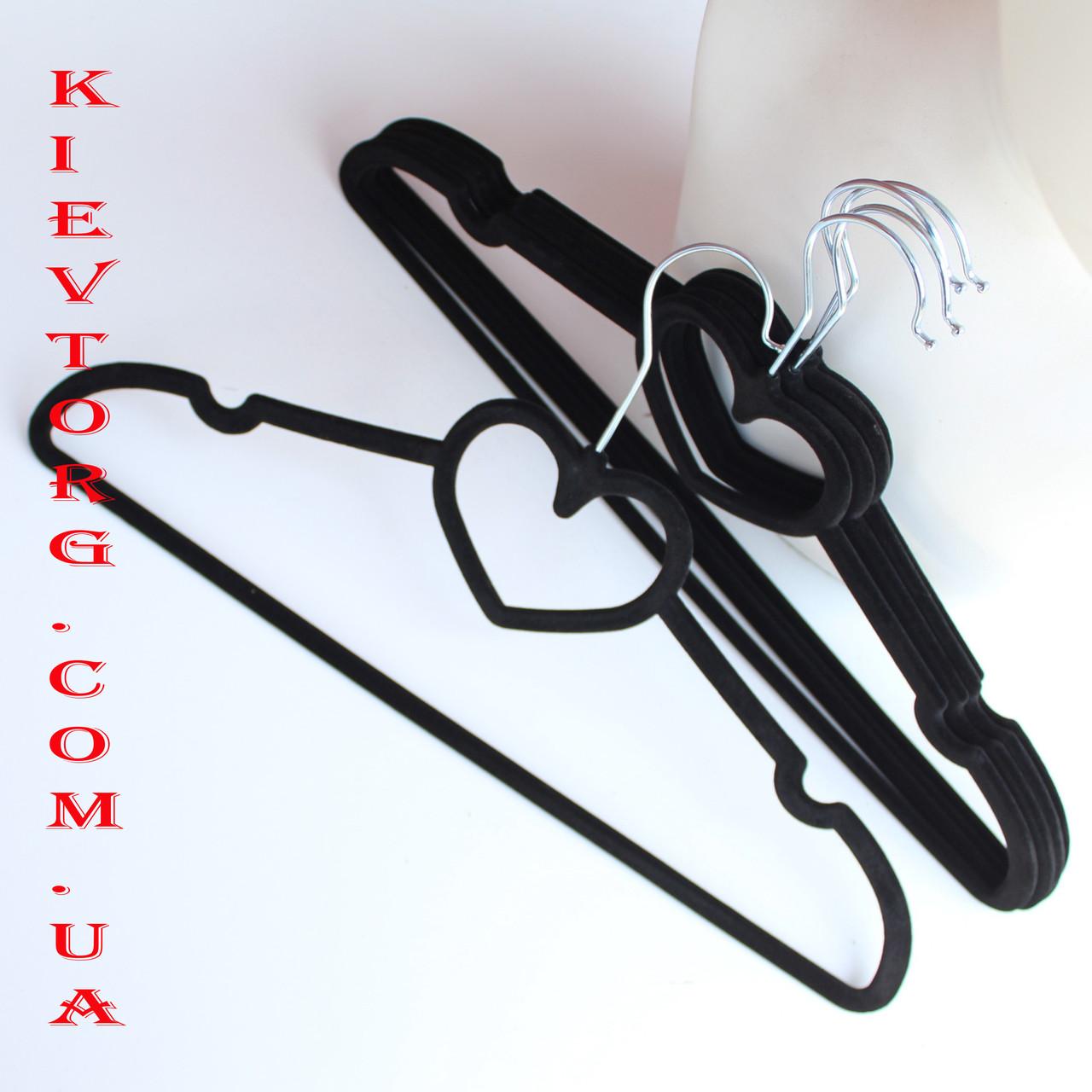 Плечики вешалки флокированные (бархатные, велюровые) черного цвета сердце, 40 см, 5 шт