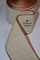 Канва лента для вышивки Vaupel & Heilenbeck (Германия), ширина 7 см (цвет льна с красно-зелёным кантом)